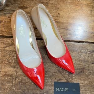 Loriblu High Shine Ombré Logo Spike Heel Pump